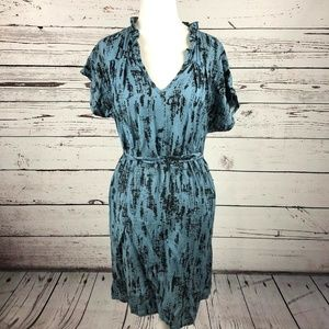 Everly Blue Printed V-Neck Ruffle Sash Tie Dress